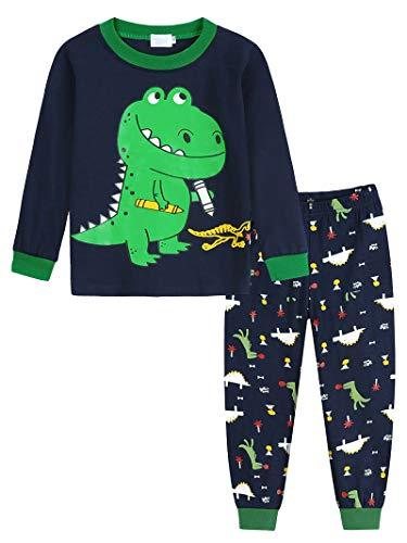 Amzbarley Conjuntos de pijama de mangas compridas de dinossauro para meninos pequenos Pijamas para crianças T-Shirt Calças Roupas Ternos Azul por 5 a 6 anos