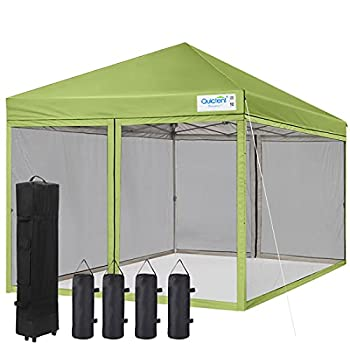 Quictent Ez Pop up Canopy with Netting Instant Screen House Tent Gazebo Roller Bag & 4 Sand Bags Included  Green 8 Feet x 8 Feet