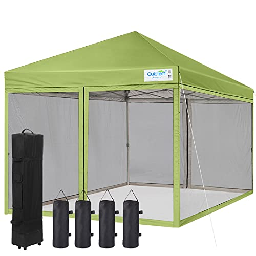 Quictent 10x10 Ez Pop up Canopy Tent Screened with Netting Screen House Mesh Side Wall Waterproof, Roller Bag & 4 Sand Bags Included (Green)