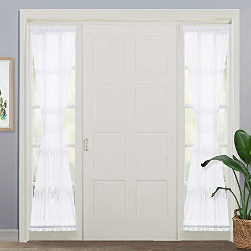 NICETOWN Voile Sidelights Panel Curtains Sidelight Curtains Blind French Door Sheer Curtains Window Treatment with Tiebacks 30 inches Wide x 72 inches Long 1 Pair White