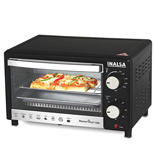Inalsa Oven MasterChef 10BK OTG (10Liters) with Temperature Selection 800 W, Powder Coated Finish, Includes Baking Pan, SS Grill Tray, Hand Glove (Black;Silver)