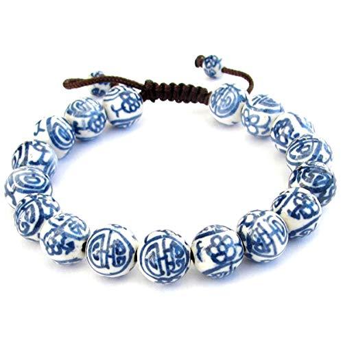 OVALBUY 2pcs X Vintage Style Porcelain Beads Buddhist Wrist Mala Bracelet