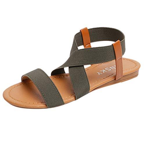 Dames elastische zomer platte sandalen vrouwen lage hiel anti-slip strand schoenen cross strap sandalen peep-toe sandalen By Vovotrade