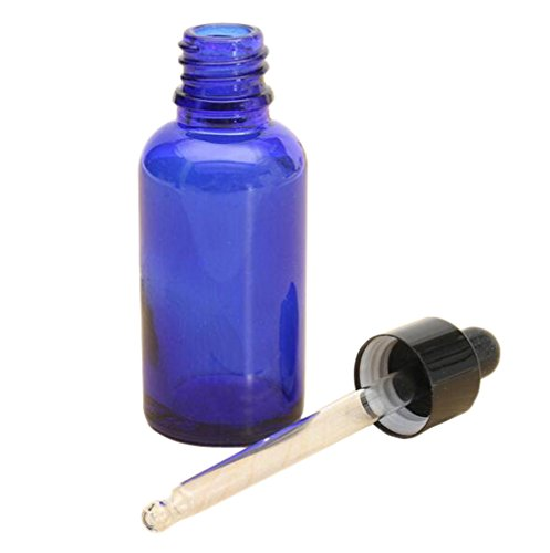 Botellas de aceites esenciales de vidrio azul de 30ml vacías, recargables. Con gotero para ojos y oídos, botellas con pipeta cuentagotas PACK de 2.