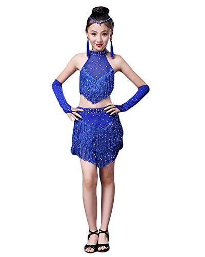 Jonact Ragazze Vestito da Ballo per Latino Tango - Bambina Sala da Ballo Vestito con Frange Strass Costume da Ballo per 4 ai 15 Anni