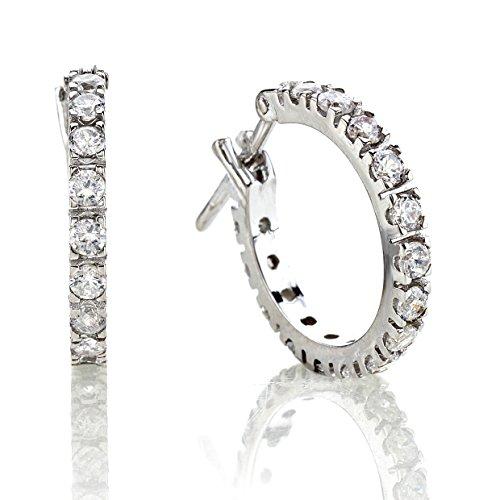 Bossoro Gioielli- Pendientes para mujer de plata 925/1000, circulos de diametro 15 mm. con circonitas cubica de diametro 1,8 mm.