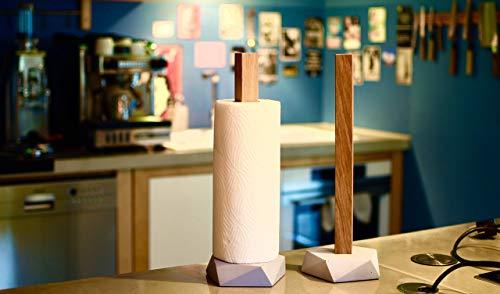 GUTMANN - DESIGN Küchenrollenhalter Küchenpapier Halter aus Beton und Eichenholz handgemacht in Deutschland