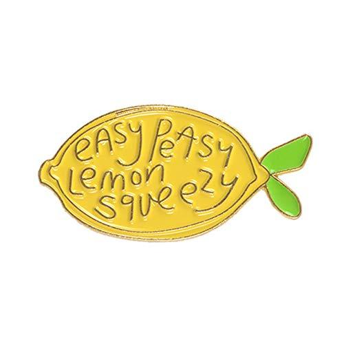 Pin Badges Brooches for Men Women,Cartoon Lemon Enamel Letters Brooch Pin Unisex Denim Backpack Decor Party Badge - Yellow