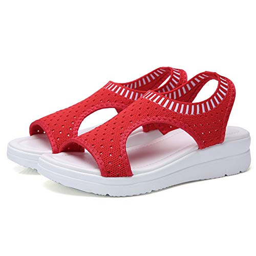 YYLP Summer Student Sports Sandals Ladies Breathable Elastic Band Platform Fish Mouth Mesh Casual Sandals