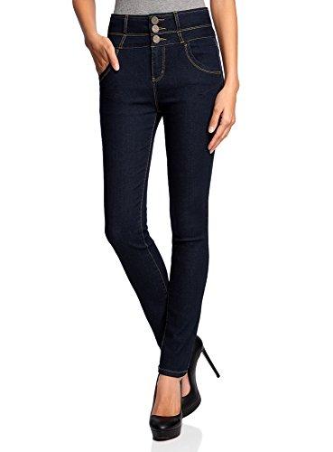 oodji Ultra Donna Jeans Skinny a Vita Alta, Blu, 26W / 30L (IT 40 / EU 36 / XS)