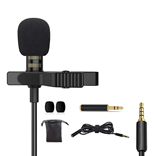 VARIPOWDER Microphone,Professional Lavalier Lapel Microphone Omnidirectional Condenser Mic for iPhone Android Cellphone,Clip-On Recording Mic for Youtube/Interview/Video/ASMR