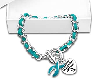 Fundraising For A Cause Ovarian Cancer Awareness Teal Ribbon and Heart Together Charm Leather Rope Bracelet in a Gift Box