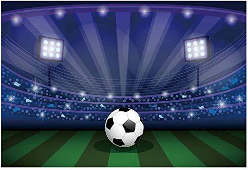 5x3ft Estadio de fútbol Telón de Fondo Iluminación Campo de fútbol Césped Photo Booth Atrezzo Pastizales Campo Deportivo Fondo para fotografía Niños Niños Decoración de Fiesta de cumpleaños