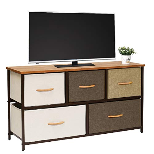 Kamiler Wide Dresser Storage Tower 5 Drawer Organizer Chest for Bedroom, Hallway, Entryway, Closets, Living Room,TV Stand, Sturdy Steel Frame, Wood Top (Rustic Brown)