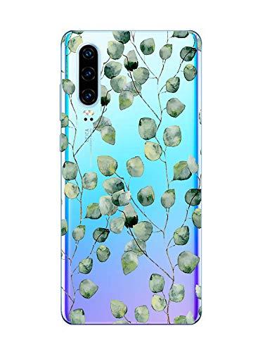 Oihxse Clair Case Compatible avec Xiaomi Redmi Note 6/6 Pro Coque en Silicone Transparent Motif Fleur Floral Feuilles Motif pour Filles Femmes Antichoc Housse Protection TPU Bumper Cover(11)