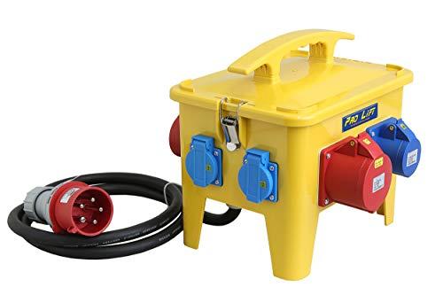 Pro-Lift-Werkzeuge Stromverteiler 32A Baustromverteiler tragbar, 8 Ausgänge, Starkstrom Steckdosen-Verteiler Camping