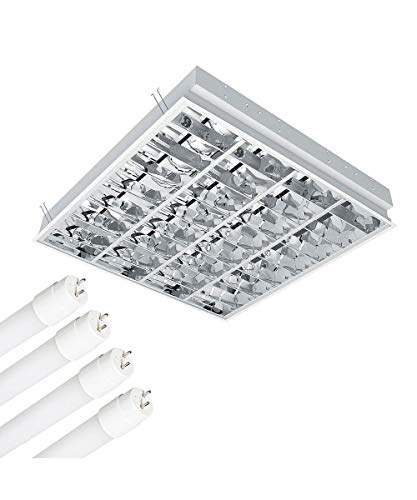 Rasterlamp incl. 4x 7,6 Watt 3000K, 4x720 lm Osram LED buizen, inlegverlichting, plafondlamp met dubbel paraboolraster (BAP) bureaulamp plafondlamp roosterlamp opbouwlamp