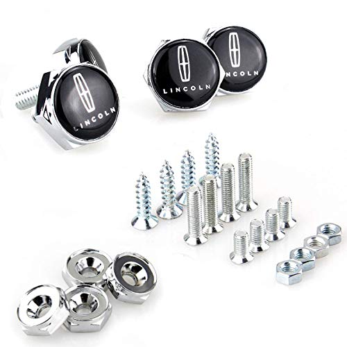 Bettway 4pcs/Set Car License Plate Frame Screw Bolts - Logo Cap Cover Metal Screw Bolts Nuts Anti-Theft Universal Car Truck Accessories fit for Lincoln (Silver Nuts)