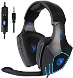 SADES SA819 Gaming Headset for PC, MAC, PS4, Xbox ONE, Nintendo Switch, 3.5mm Surround Stereo Wired Gaming Headset, Over Ear Headphones with Mic Revolution Volume Control, Noise Canceling(Black)