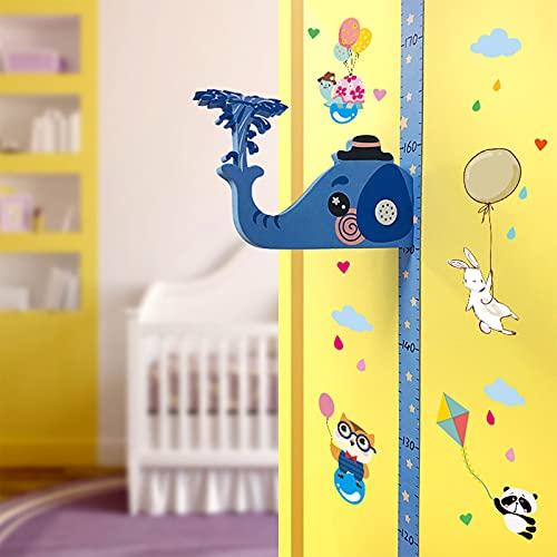 Honeyhouse Diagrama de altura para niños, etiqueta engomada de pared con regla de medición de altura con bolígrafo a base de agua y pegatinas de dibujos animados