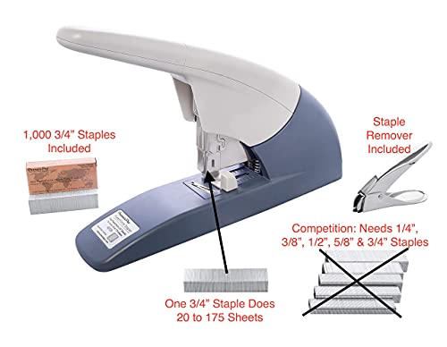 """PraxxisPro PowerForce-175 Heavy Duty Flat Clinch Stapler, 20 to 175 Sheets Using one Size 3/4"""" Leg-Length Staple. for Home and Business. Includes 400 3/4"""" Leg-Length Staples and a Staple Remover. Photo #5"""