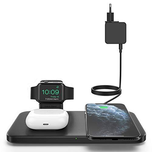 Seneo Cargador Inalámbrico 3 en 1, Almohadilla de Carga Inalámbrica para AirPods Pro / 2, Estación de Carga para iWatch 6/5/4/3/2/SE, Carga Rápida Qi de 7.5W para iPhone 12 (Incluye Adaptador QC 3.0)