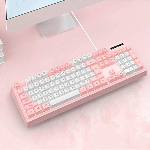 XIUYU Manipulator-Feel USB Wired Keyboard, Desktop-Computer Notebook-Tastatur, Büro Spiel Licht Mute Tastatur, Nette Mädchen-Herz-Tastatur