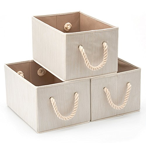EZOWare Set of 3 Bamboo Large Fabric Storage Bins Organizer with Cotton Rope Handle, Collapsible Cube Basket Container Box for Nursery, Kids, Closet, and More (Beige)