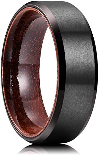King Will Mens 8mm Black Titanium Wedding Ring Inlay With Real Wood Comfort Fit Brushed Center product image