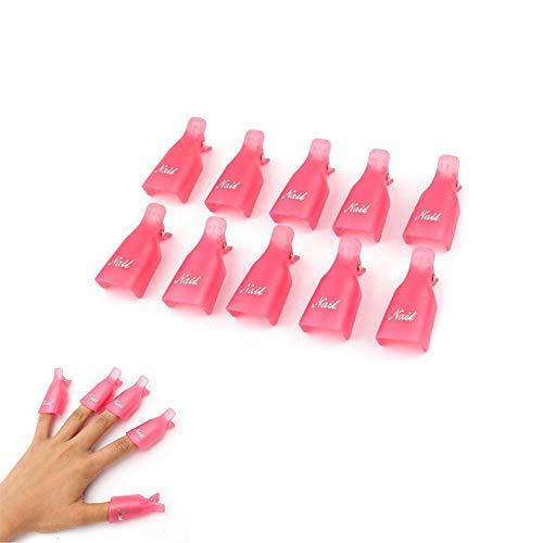 YUEMING 10 Piezas Clip de Removedor de Esmaltes, Uña Clip de Plástico Arte de Uñas de Acrílico Herramienta de Limpieza de Manicura, Barniz Reutilizable, Uñas Removedor el Esmalte Semipermanentes