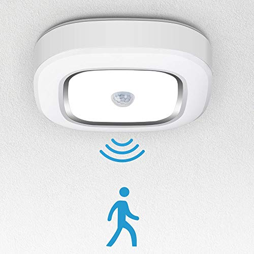 Xumemall 6.89in Motion Sensor LED Ceiling Light, Batteries-Powered Mount Ceiling Light, 300 Lumens Daylight White 6000K Ceiling Lamp for Bathroom, Bedroom, Laundry, Closet, Stairs, Hallway