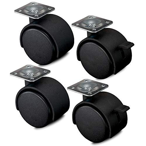 Nirox 4x Möbelrollen 50mm - Transportrollen 2x Bremse - Räder keine Laufspuren - Lenkrollen 360 Grad rundum drehbar - 60mm Gesamthöhe - Schwenkrollen bis 120kg