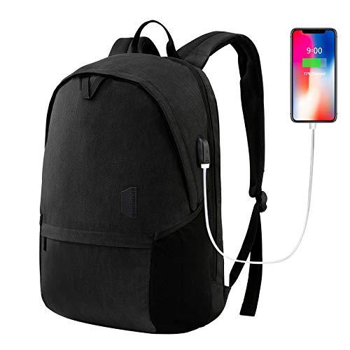 Laptop Backpack, BAGSMART Travel Backpack with USB Charging Port 15.6 Inch College Bookbag, Carbon Black