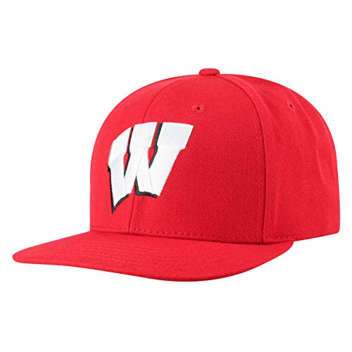 NCAA Wisconsin Badgers Men's Flat Brim Snap Back Team Icon Hat, Red