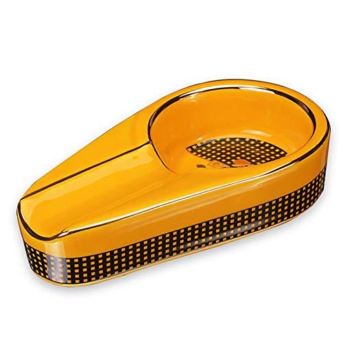 EJKDF Cenicero de cigarros, cerámica única portátil es fácil de Limpiar, Terraza al Aire Libre de Viaje en Interiores Yellow