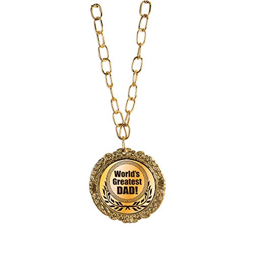 Award 'World's Greatest Dad' Medal Olympic Themed Medallion Novelty Necklace, One Size