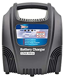 Portable & robust heavy duty battery charger with LED's to show current charging levels Double insulated and protected against thermal overload and reverse battery connection 12v 4 Amp | Plastic Cased | 2.6 Amp DC, (4 Amp RMS ) charging Suitable for ...