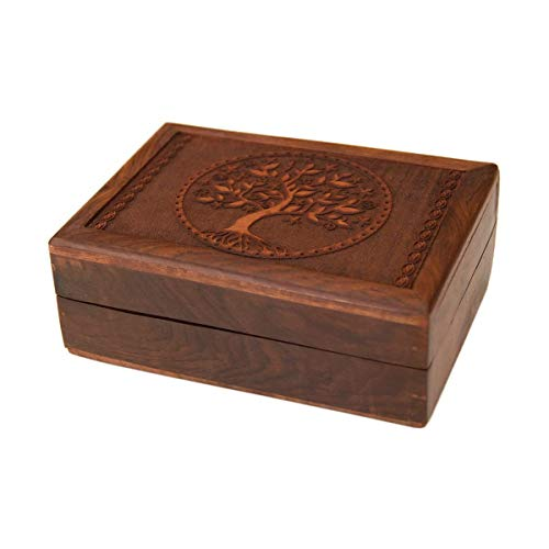 Schatulle Kästchen Schmuckkästchen Tarotdose aus Holz (schwarzes Polster) mit geschnitztem Baum handgemacht