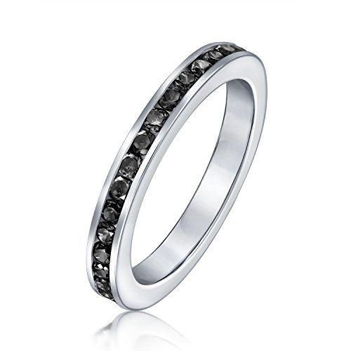 Cubic Zirconia Black Stackable CZ Channel Set Eternity Band Ring Simulated Onyx For Women Teen 925 Sterling Silver