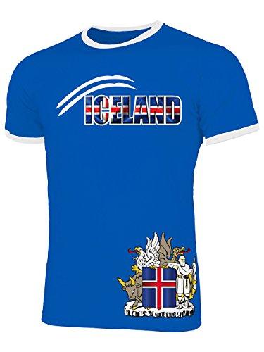 Island Iceland Fanshirt Fussball Fußball Trikot Look Jersey Herren Männer Ringer Tee t Shirt Tshirt t-Shirt Fan Fanartikel Outfit Bekleidung Oberteil Hemd Artikel