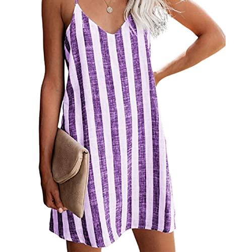 Small ear 6 colores S-3XL verano de gran tamaño de las mujeres sueltas de sarga a rayas impresas Slip Mini vestido