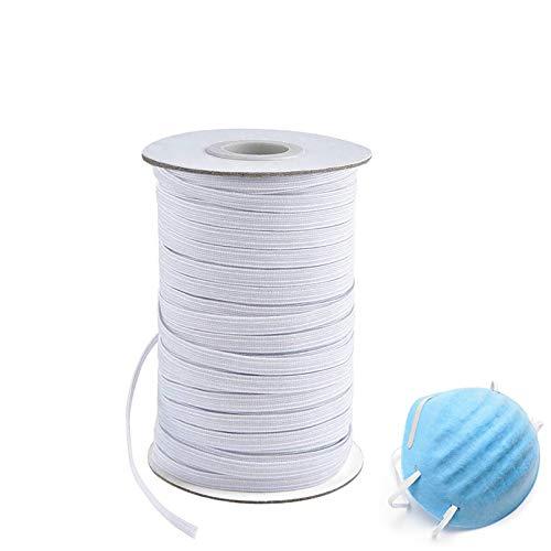 1/4 Inch Width Braided Elastic Band White Elastic String Cord Heavy Stretch High Elasticity Knit Elastic Band for Sewing Craft DIY (100Yards)