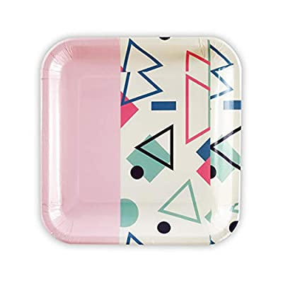 SOLAS Biodegradable & Fully Compostable Pink Cute Paper Plates | Beautifully Designed Stylish Eco Friendly Big Paper Plates 9 Inch | Pack of 20 | (Pink Cake Plates Disposable)