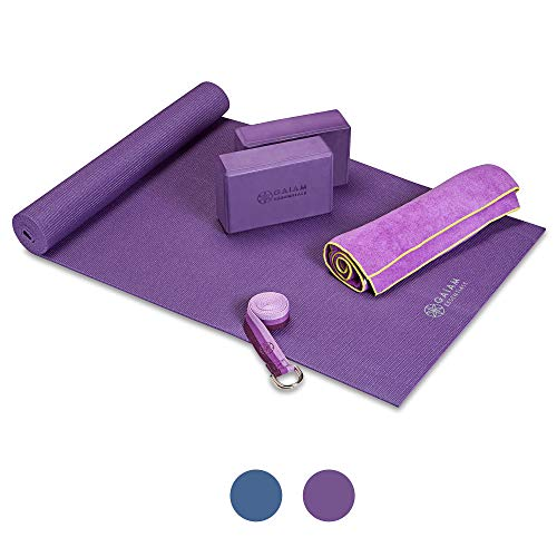 "Gaiam Essentials Yoga Mat Set for Beginners | Kit Includes Premium Yoga Mat (72""Long x 24""W x 6mm Thick) with Yoga Mat Carrier Sling, Yoga Block 2 Pack, 6ft Yoga Strap, Hot Yoga Towel (Purple)"