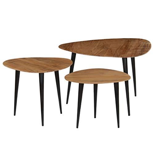binzhoueushopping Lot de 3 Tables Basses en Bois Massif d'acacia Table Salon Moderne Table Basse Salon Design
