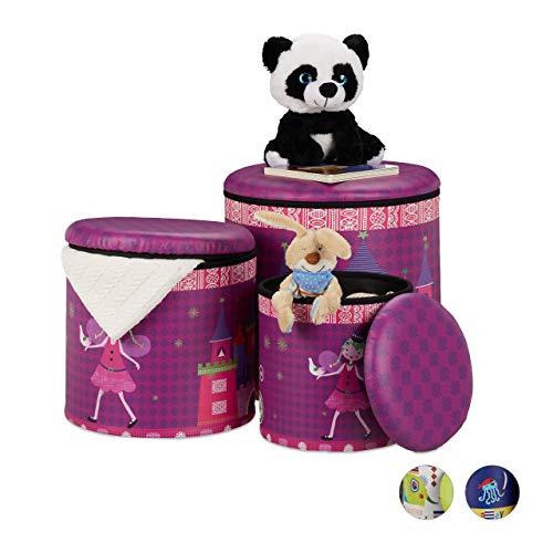 Relaxdays Sitzhocker Kinder, 3er Set, Prinzessin-Design, Sitzbox rund, Hocker mit Stauraum, Sitztonne, in 3 Größen, lila