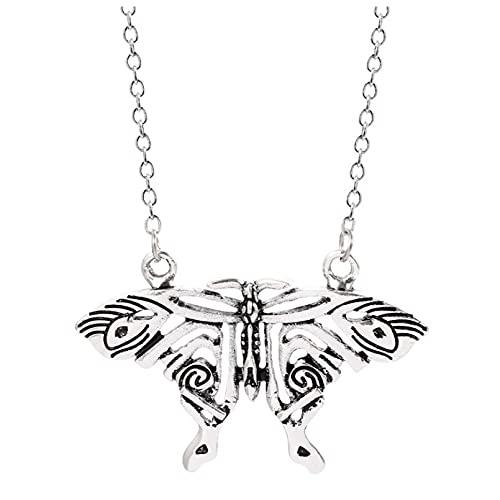 SOTUVO Collar Collar con Colgante de Mariposa de Color Plateado Vintage, Collares de declaración de Mariposa Grande, Accesorios de joyería Cospaly para Disfraz para Mujer