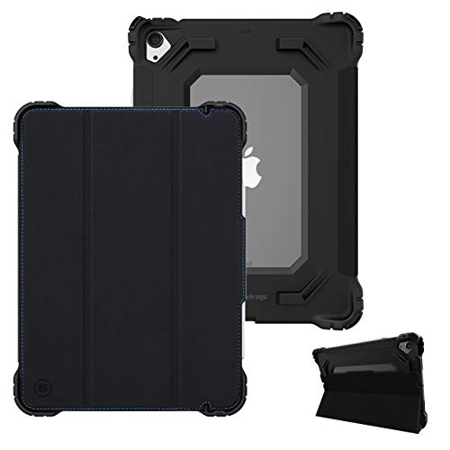 Gumdrop Hideaway Folio Case for Apple iPad 10.9-inch (7g/8g) 2020 - Slim Case, Extreme Corner Protection, Multi-Angle Stand, Clear Back and Microfiber Screen Cover - Black