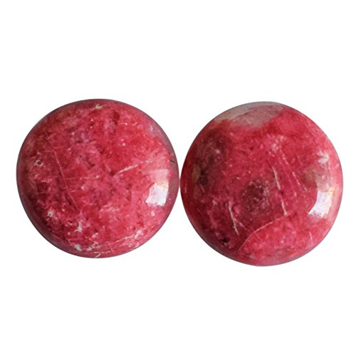 Hermoso par redondo de cabujón de thulite rosa natural, par de pendientes, piedra preciosa para hacer joyas AG-9332