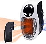 Programmable Space Heater, with Led Display Wall Outlet Electric Heater with Adjustable Thermostat and Timer for Home Office Indoor Use 500 Watt ETL Listed (4.34')